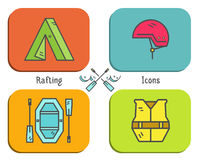 Rafting equipment flat icon, button collection Royalty Free Stock Photo