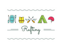 Rafting equipment icon collection.  Outdoors style Stock Photo