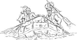 Rafting för fyra personer Arkivfoton