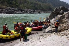 Rafting on the Ganga. Rishikesh, India, rafting expedition about to depart on the River Ganga stock image