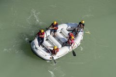 Rafting on the Ganges river in Rishikesh, North India, aerial view royalty free stock photos