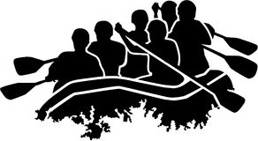 Rafting group silhouette. Vector sports Stock Image