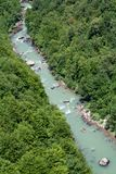 Rafting i den montenegrian Tara flodkanjonen Royaltyfri Fotografi