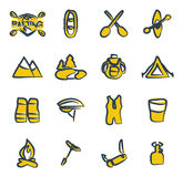 Rafting Icons Freehand 2 Color Royalty Free Stock Image