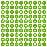 100 rafting icons hexagon green. 100 rafting icons set in green hexagon isolated vector illustration Stock Image