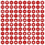100 rafting icons hexagon red. 100 rafting icons set in red hexagon isolated vector illustration royalty free illustration