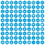 100 rafting icons set blue. 100 rafting icons set in blue hexagon isolated vector illustration Stock Photos