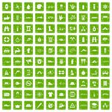 100 rafting icons set grunge green. 100 rafting icons set in grunge style green color isolated on white background vector illustration Stock Photo