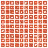 100 rafting icons set grunge orange. 100 rafting icons set in grunge style orange color isolated on white background vector illustration Stock Images