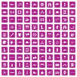 100 rafting icons set grunge pink. 100 rafting icons set in grunge style pink color isolated on white background vector illustration Royalty Free Stock Photos