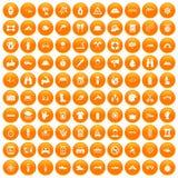 100 rafting icons set orange. 100 rafting icons set in orange circle isolated on white vector illustration Royalty Free Illustration