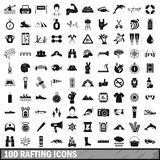 100 rafting icons set, simple style Stock Photo