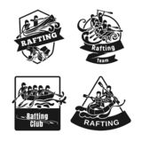 Rafting kayak icon set, simple style royalty free illustration