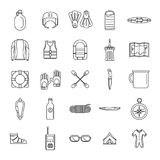 Rafting kayak water canoe icons set, outline style. Rafting kayak water canoe icons set. Outline illustration of 25 rafting kayak water canoe vector icons for Stock Images