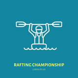 Rafting, kayaking flat line icon. Vector illustration of water sport - happy rafter with paddle in river boat. Linear Royalty Free Stock Photography