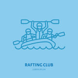 Rafting, kayaking flat line icon. Vector illustration of water sport - happy rafters with paddles in river raft. Linear Royalty Free Stock Photography