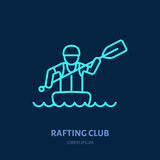 Rafting, kayaking flat line icon.. Vector illustration of water sport - rafter with paddle in river raft. Linear sign, summer recreation pictogram for paddling Royalty Free Stock Photo
