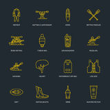 Rafting, kayaking flat line icons. Vector illustration of water sport equipment - river raft, kayak, canoe, paddles Royalty Free Stock Photos