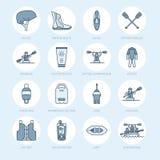 Rafting, kayaking flat line icons. Vector illustration of water sport equipment - river raft, kayak, canoe, paddles. Life vest. Linear signs set, summer Royalty Free Stock Image