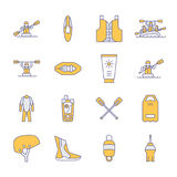 Rafting, kayaking flat line icons. Vector illustration of water sport equipment   Royalty Free Stock Photo