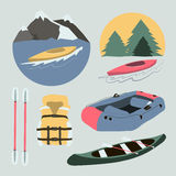 Rafting and kayaking icons collection Royalty Free Stock Photos