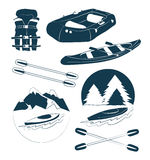 Rafting and kayaking icons collection Royalty Free Stock Photography