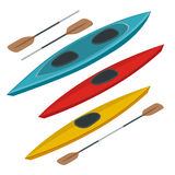 Rafting and kayaking icons collection. Isometric plastic kayak water recreational, touring or travel transport. Flat 3d Stock Images