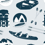 Rafting and kayaking icons collection pattern Royalty Free Stock Photography