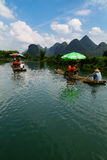 Rafting Li River Yangshuo. People Rafting Li River China Royalty Free Stock Photos