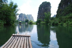 rafting on lijiang river guilin,china Stock Image