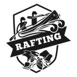 Rafting logo, simple style stock illustration