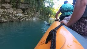 Rafting on Martvili canyon in summertime, Georgia. stock video footage