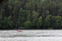 Rafting on the mountain river. People rafting on the mountain river stock image