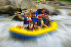 Rafting on mountain river, blurred in postproduction Stock Images