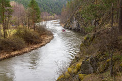 Rafting on the mountain river. Royalty Free Stock Photo