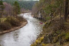 Rafting on the mountain river. Stock Image