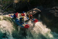 Rafting on mountain river stock images