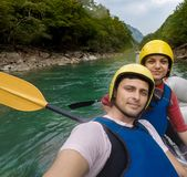 Rafting on the mountain river Tara Stock Image