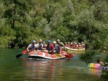Rafting op rivier Cetina Stock Foto's
