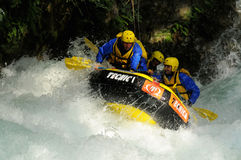 Rafting over the wave Royalty Free Stock Photography