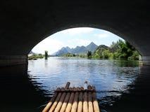 Rafting på Li River Arkivfoto