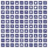 100 rafting pictogrammen geplaatst grunge saffier Royalty-vrije Stock Afbeeldingen
