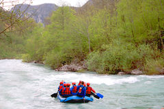Rafting race on the fast river Tara Royalty Free Stock Photography