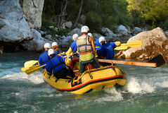 Rafting on a river Stock Images