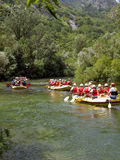 Rafting on river Cetina 1. 5. August 2010. Radmanove mlinice Omis is famous for the river Cetina and its natural beauties. On Cetina in the summer time keeps stock photos