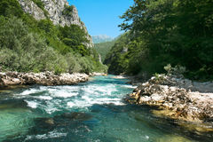 Rafting  of river Neretva , Bosnia and Herzegovina. Soft Green  water rafting on the rapids of River Neretva , Bosnia and Herzegovina Royalty Free Stock Image
