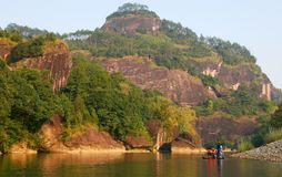 Rafting on the River of Nine Bends, Wuyi Mountains, Fujian province, China stock photo