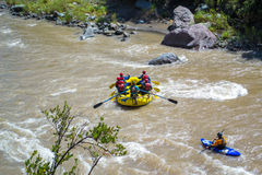 Rafting the river. People rafting a river for fun Stock Photo