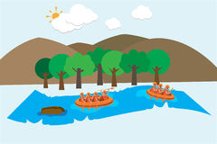 Rafting on river vector background Royalty Free Stock Photo