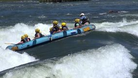 Rafting in rough waters the White Nile stock video footage